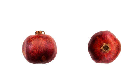 Red garnet side view and top view isolated on white background