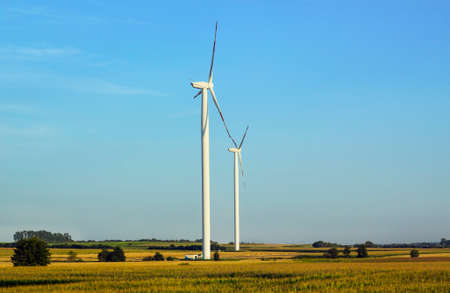 New modern Windmills in green fields. Summer village landscape with power generating wind turbines against blue sky