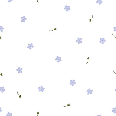 Seamless floral pattern forget-me-not violet flowers. Myosotis gentle flower pattern on white background, vector Vector Illustration