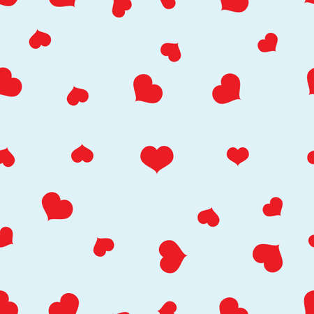 Seamless red hearts pattern on blue background vector Illustration