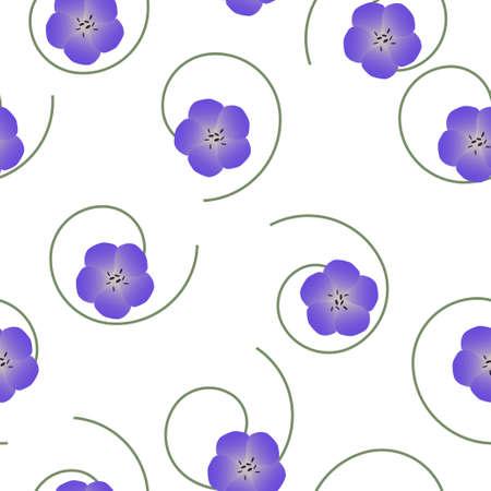 Patrón floral transparente violeta Geranium pratense, pradera geranio o pradera flores de pico de grúa sobre fondo blanco, vector