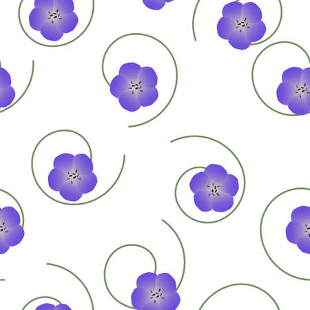 Seamless floral pattern violet Geranium pratense, meadow geranium or Meadow crane's-bill flowers on white background, vector Illustration