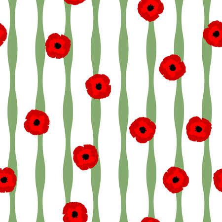 Motif floral sans couture stylisation rouge fleurs de coquelicots et lignes vertes sur fond blanc, vecteur, eps 10 Vecteurs