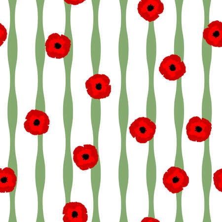Seamless floral pattern red stylization Poppies flowers and green lines on white background, vector, eps 10
