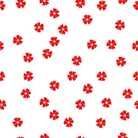 Seamless floral pattern small red flowers Verbena hybrida on white background, vector, eps 10