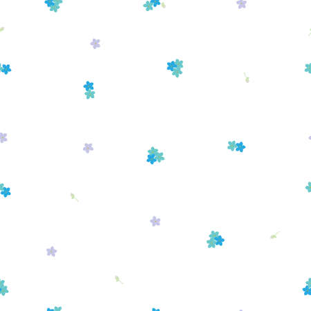 Seamless floral pattern stylization forget-me-not blue and violet flowers. Myosotis little flower pattern on white background, vector, 