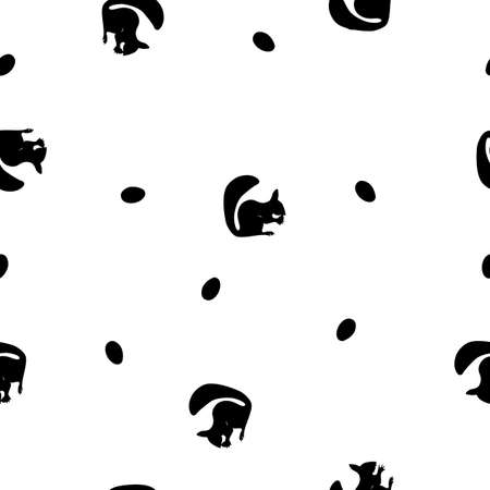 Seamless pattern black silhouette of squirrel with nuts on white background, vector, eps 10