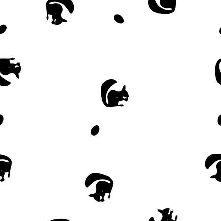 Seamless pattern black silhouette of squirrel with nut on white background, vector, eps 10