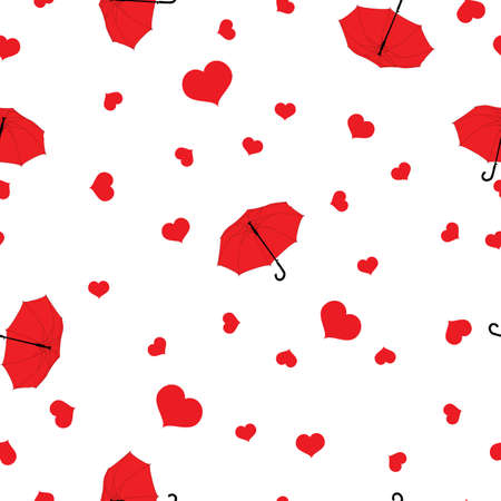 Seamless pattern rain drops of red hearts and umbrellas on white background, Valentines Day, vector, eps 10