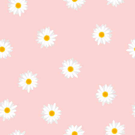 Seamless floral pattern white flowers Daisy on pink background, vector, eps 10
