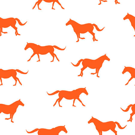 Seamless wild animals pattern orange silhouette horses running, isolated on white background, vector, eps 10