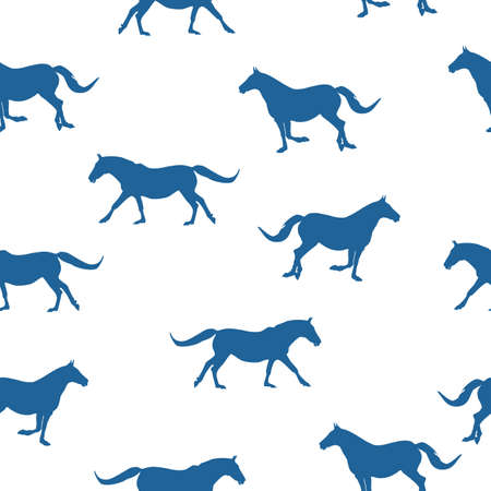 Seamless wild animals pattern blue silhouette horses running, isolated on white background, vector, eps 10