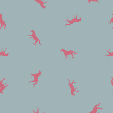 Seamless wild animals pattern small pink silhouette horses running, isolated on gray background, pastel colors, vector eps 10