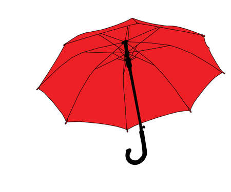 Red umbrella on white background, vector, eps 10