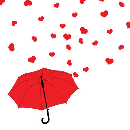 Red umbrella and rain of hearts on Valentines Day, isolated on white background, vector, eps 10