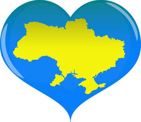 Herz mit Konturen Ukraine Land in der gelben und blauen Farbe lokalisiert auf weißem Hintergrundvektor, eps 10 Vektorgrafik