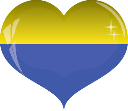 Heart with yellow and blue colors of Ukraine flag isolated on white background vector, eps 10