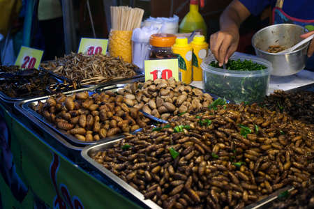 Thai food fried spicy worms and insects at night street market in Phuket Town, Thailand. Natural protein, selective focus