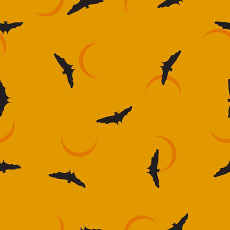 Seamless wild animals pattern Bats black silhouette flying, crescent on night sky. Halloween drawn cartoon print with flying spooky vampire, moon on yellow. Cute kids boo illustration, vector eps 10