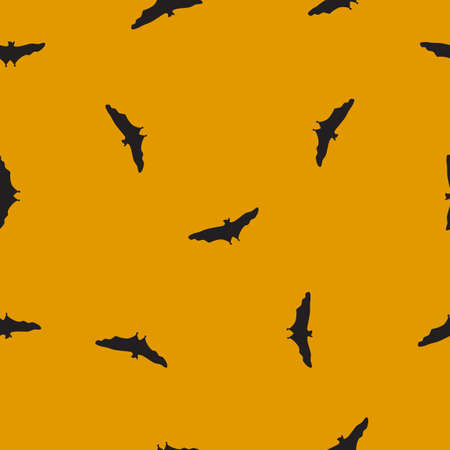 Seamless wild animals pattern Bats black silhouette on yellow background. Halloween drawn simple texture with flying spooky vampire, funny kids print for fabric clothes, scrapbooking, vector eps 10