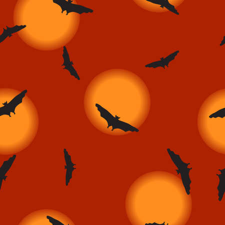 Seamless wild animals pattern Bats black silhouette flying, full moon on night sky. Halloween drawn cartoon print with flying spooky vampire shadow on orange, kids boo illustration, vector eps 10  イラスト・ベクター素材
