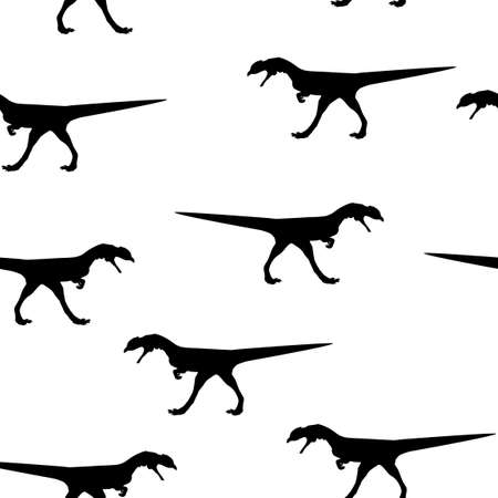 Seamless wild animal pattern big Dinosaur black silhouette isolated on white background. Kid baby boy drawing dino fossil wallpaper for playroom, cute decorative print for fabric cloth, vector eps 10