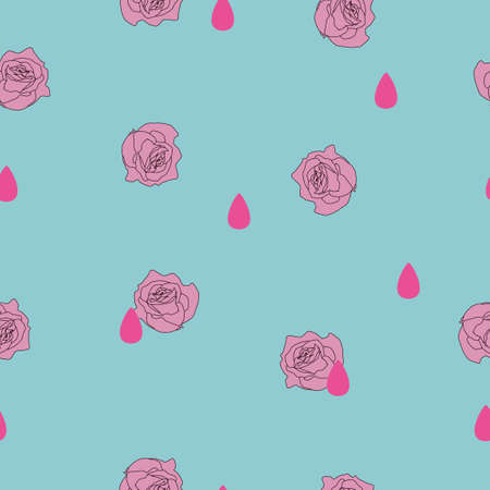 Seamless pattern small pink rose flower, rain drop on blue background. Valentines day illustration ornament, cute love concept, girly pretty retro romantic raindrop print pastel color, vector eps 10 Illustration