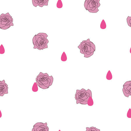 Seamless pattern small pink rose flower and rain drop on white background. Valentines day illustration ornament, cute love concept, girly pretty retro romantic raindrop print pastel color, vector eps 10
