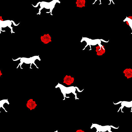 Seamless wild animals pattern white Horses silhouette and small red roses on black background. Modern pretty feminine floral print illustration horse and garden flowers, valentine day vector eps 10