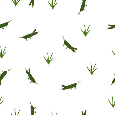 Seamless wild animals pattern cute small green Locust and grass silhouette on white background. Simple grasshopper insect in field print illustration for kids room, vector eps 10