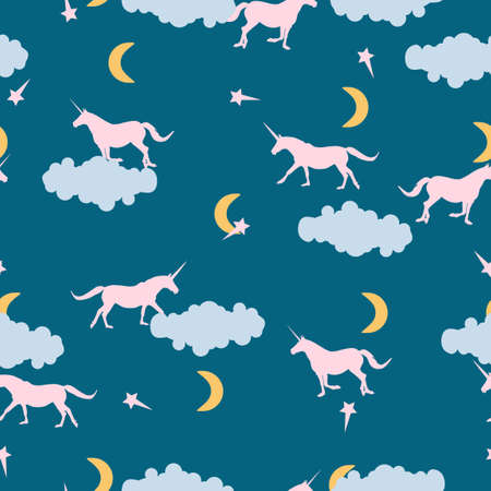 Seamless wild animals pattern cute pink Unicorns silhouette, blue clouds, stars, moon in night sky background. Kids room fantasy fairytale print illustration, baby happy sweet dreams, vector eps 10