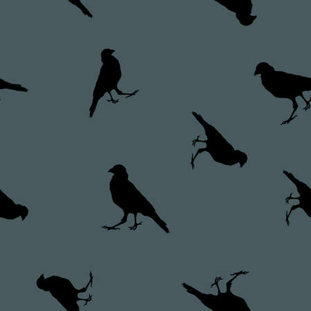 Seamless wild animals pattern Crows black silhouette on blue background. Dark shadow ravens birds print, halloween mysteriously night decorative texture, vector eps 10 Illustration