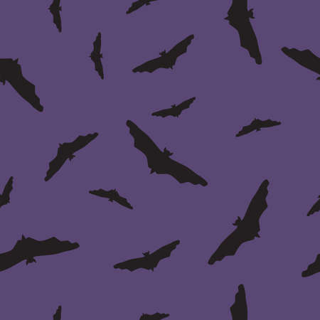Seamless wild animals pattern Bats black silhouette on purple background. Halloween drawn simple print with flying spooky vampire shadow, baby boy boo texture, mystery wall paper, vector eps 10