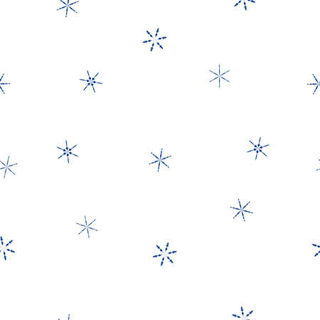 Seamless pattern falling blue snowflakes isolated on white background. Abstract simple winter print for merry Christmas holidays and Happy New Year celebration, vector eps 10 Фото со стока - 127454917