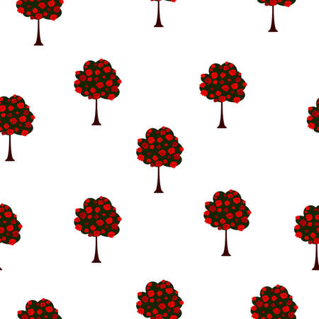 Seamless pattern green big trees with red roses blooming, vintage style. Texture with spring garden for fabric textile or wall paper. Girly fantasy floral print, vector eps 10 Иллюстрация