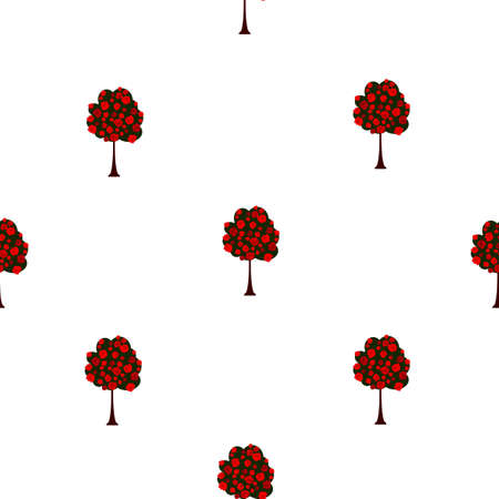 Seamless floral pattern green small trees with red roses blooming, vintage style. Texture with summer garden for fabric textile or wall paper, vector eps 10 Фото со стока - 127454919