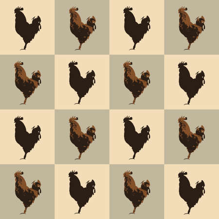 Seamless pattern farm Rooster birds silhouette, vintage style. Domestic cockerel animals simple cute print, village style drawing texture for fabric cloth or farmer wall paper, vector eps 10 Фото со стока - 127288975