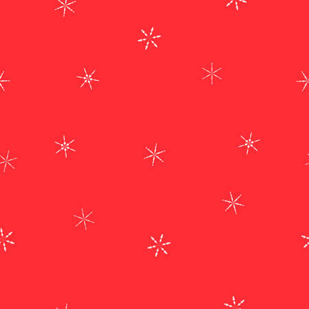 Seamless pattern falling white snowflakes on red background. Abstract simple winter print for merry Christmas holidays and Happy New Year celebration. Snow crystal texture, vector eps 10