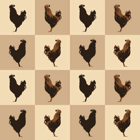 Seamless pattern farm Rooster birds silhouette, vintage style. Domestic cockerel animals simple cute print, village style drawing texture for fabric cloth or farmer wall paper, vector eps 10 Фото со стока - 127288978