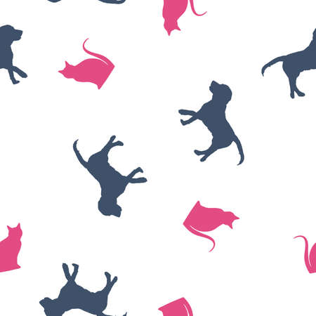 Seamless animals pattern blue dogs and pink cats profile silhouette. Pets drawing simple print kid style, cute zoo banner design. Puppies and kittens wall paper, vector eps 10 Фото со стока - 127288980