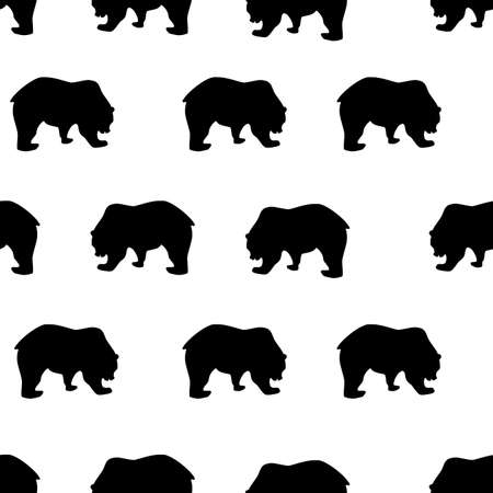 Seamless pattern black bear silhouette on white background, vintage style. Wild animals simple cute kids print, drawing texture for fabric textile cloth or wall paper, vector eps 10 Фото со стока - 127169195