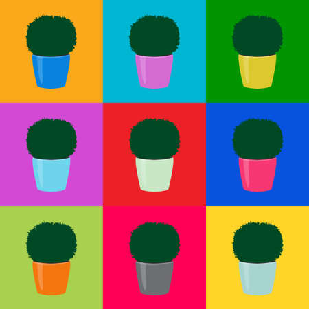 Seamless floral pattern green topiary plants in colorful pots on squares. Decorative potted houseplants simple print. Botany bright wall paper pop art style, vector eps 10 Фото со стока - 127169196