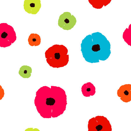 Seamless pattern with colorful Poppies flowers on white background. Simple floral wildflowers print, pop art style. Poppy backdrop for fabric textile, wallpaper, banner. Vector design eps 10 Иллюстрация