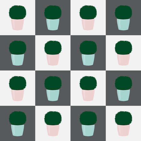 Seamless floral pattern green topiary plants in pots on squares. Decorative potted houseplants simple print. Kitchen botany wall paper modern style, vector eps 10