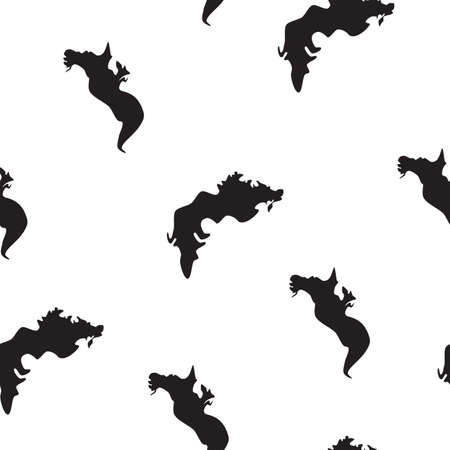 Seamless pattern Sea dragons black silhouette isolated on white background. Fantasy kids blot simple print for magical wall paper or fabric cloth. Abstract animals drawn texture, vector eps 10
