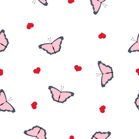 Seamless pattern pink butterflies, red hearts on white background. Cute Valentines day print butterfly flying. Girly sweet motif for fabric textile cloth or wall paper, vector pastel design eps 10 Фото со стока - 125799402