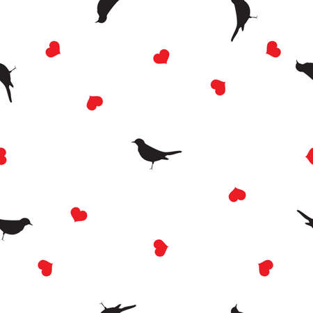Seamless pattern small black birds silhouettes, red hearts on white background. Valentines day cute blackbirds love drawn print, girl lovely motif, wall paper, fabric cloth, vector design eps 10 Иллюстрация