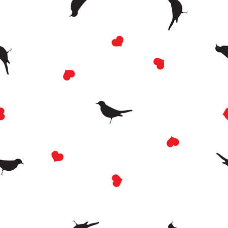 Seamless pattern small black birds silhouettes, red hearts on white background. Valentines day cute blackbirds love drawn print, girl lovely motif, wall paper, fabric cloth, vector design eps 10 Фото со стока - 125799408