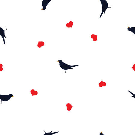 Seamless pattern small bluebirds and red hearts on white background. Valentines day cute songbirds love drawn print, girl lovely motif for wall paper or fabric cloth, vector design eps 10