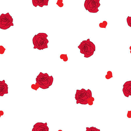 Seamless pattern pink roses flowers and rain from falling red hearts on white background. Valentines day cute floral rainy print, girls sweet motif for wall paper or fabric cloth, vector design eps 10